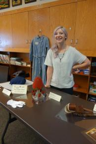 Art Department graduate student Kaylyn Gerenz with her inspiration.
