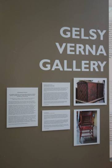 Art Department graduate students Kaylyn Gerenz, Sarah O'Farrell, and Allison Roberts organized an exhibition of their work at the Gelsy Verna Gallery in the Art Lofts Building. They began by looking at objects in the Mount Horeb Area Historical Society and created their own works in response. Pictured here is the introduction to the exhibition as well as Sarah and Allison's introductions to their works and photographs of the chest and chair.